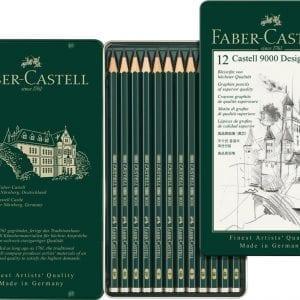 Castell 9000 Design Set of 12 Pencils (5B,4B,3B,2B,B,HB,F,H,2H,3H,4H,5H)-1