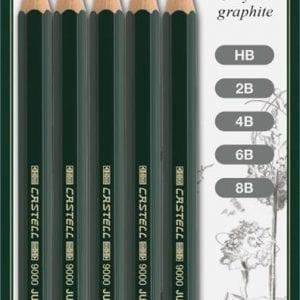 Castell 9000 Jumbo Pencil Assorted Blister of 5 (HB 2B 4B 6B 8B)-1