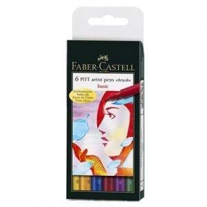 PITT Artist Pen Brush Wallet of 6 Basic Colours