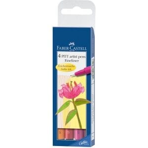 PITT Artist Pen Fineliner Wallet of 4 Warm Colours-1