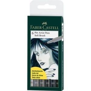 PITT Artist Pen Soft Brush Wallet of 6 Shades of Grey - 1