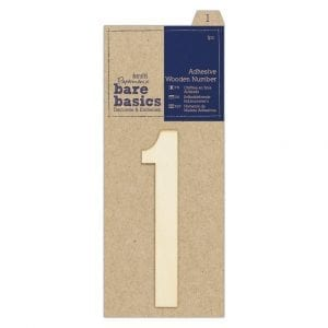 Adhesive Wooden Number 1 (1pc)