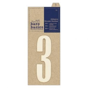 Adhesive Wooden Number 3 (1pc)