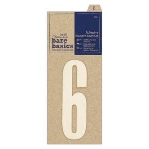 Adhesive Wooden Number 6 (1pc)