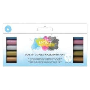 Dual Tip Calligraphy Pens - Metallic - BrushFlat (6pk)