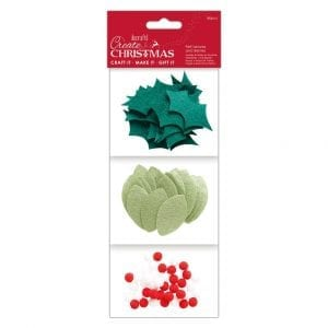 Felt Leaves and Berries (80pcs) - Create Christmas