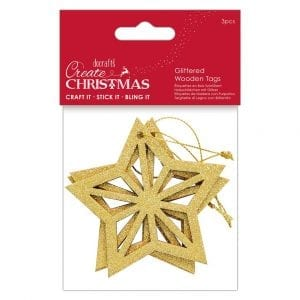 Glittered Wooden Tags (3pcs) - Create Christmas - Star