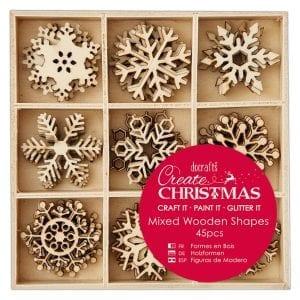 Small Mixed Wooden Shapes (45pcs) - Snowflakes
