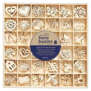 Wooden Shapes (180pcs) - Bare Basics - Mixed Wooden Shapes