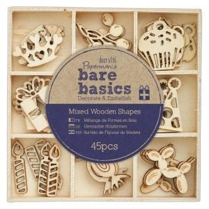 Wooden Shapes (45pcs) - Bare Basics - Celebration