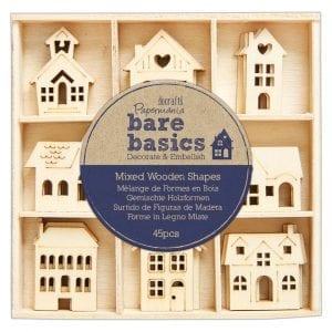 Wooden Shapes (45pcs) - Bare Basics - Houses