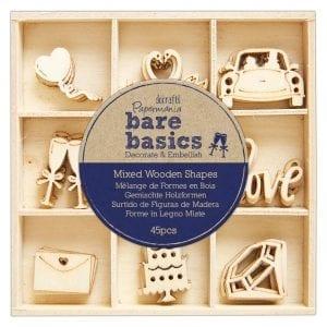 Wooden Shapes (45pcs) - Bare Basics - Wedding